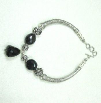 Black Onyx German Silver Necklace