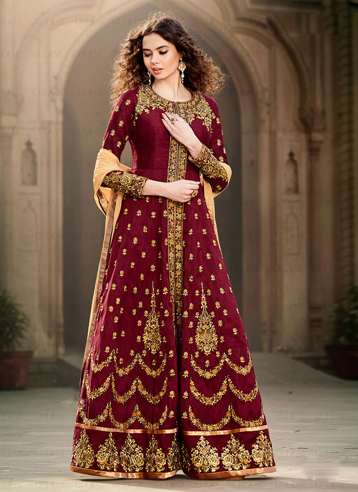 b3bda28224 Maroon Bangalori silk embroidered designer anarkali type pakistani Salwar  Suit with dupatta - Glamson Enterprise - 1159734
