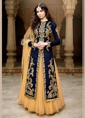navy blue embroidered bangaluri silk semi stitched anarkali salwar suit