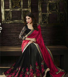 Buy pink and black  embroidered chiffon silk georgette saree With Blouse designer-embroidered-saree online