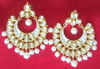 CHAND BALI  KUNDAN PEARL DANGLER earrings Gold plated