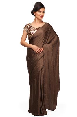 Brown Plain Satin Saree With Blouse Pret A Porter 1161290