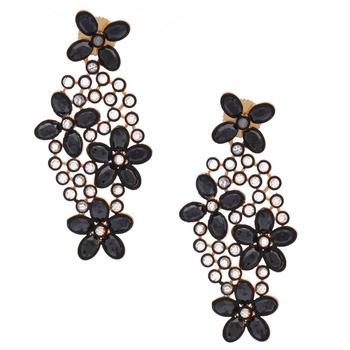 Floral Black Kundan Gold Plated Dangling Delicate Earring for Women