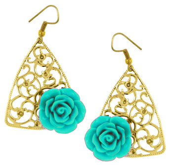 Filigree Flower Sky Blue 18k Gold Plated Dangling Earring for Women