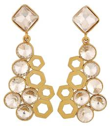 Designer 18k Antique Gold Plated Filigree Geometric Dangling Earring for Women