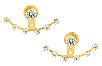 Solitaire American Diamond CZ Gold Plated Ear Cuff Pair Jacket Earring for Women