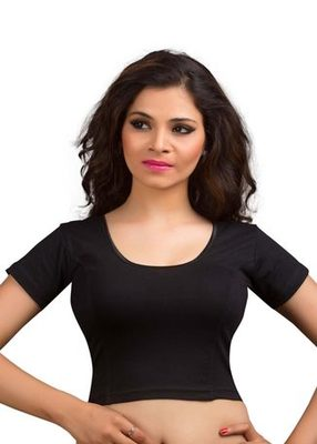 Black Cotton Lycra Strechable Stitched Blouse