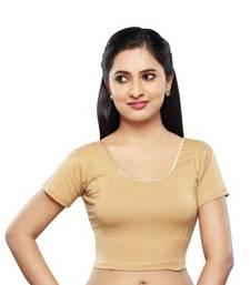 Buy Dark golden cotton lycra strechable stitched blouse plus-size-blouse online