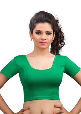 Green Cotton Lycra Strechable Stitched Blouse