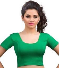 Buy Green cotton lycra strechable stitched blouse plus-size-blouse online
