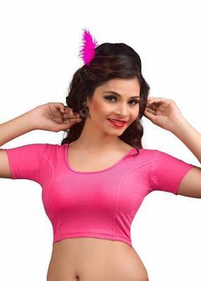 Light Pink Cotton Lycra Strechable Stitched Blouse