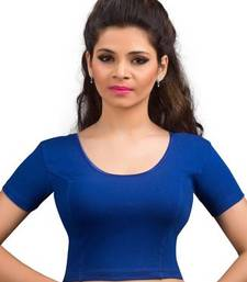 Royal blue cotton lycra strechable stitched blouse