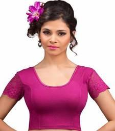 Magenta cotton lycra strechable stitched blouse