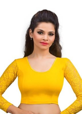 Dark Yellow Cotton Lycra Strechable Stitched Blouse