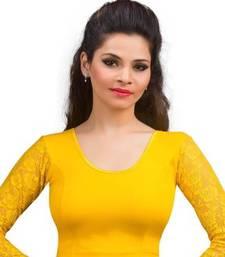 Dark Yellow Cotton Lycra Strechable Stitched Blouse