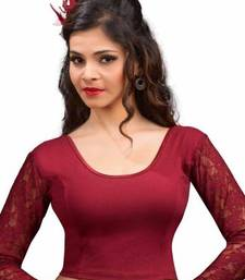 Buy Maroon cotton lycra strechable stitched blouse women-ethnic-wear online