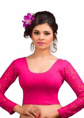 Pink Cotton Lycra Strechable Stitched Blouse