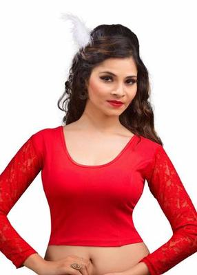 Red Cotton Lycra Strechable Stitched Blouse
