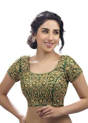 b9862a85d4f26 Green kundan work stitched dupion silk readymade blouses - muhenera ...