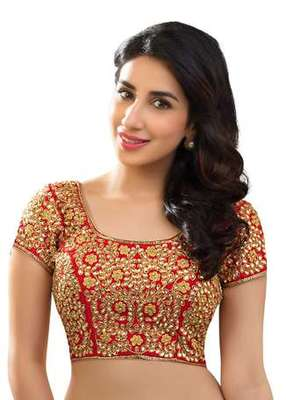 Red kundan work stitched dupion silk readymade blouses