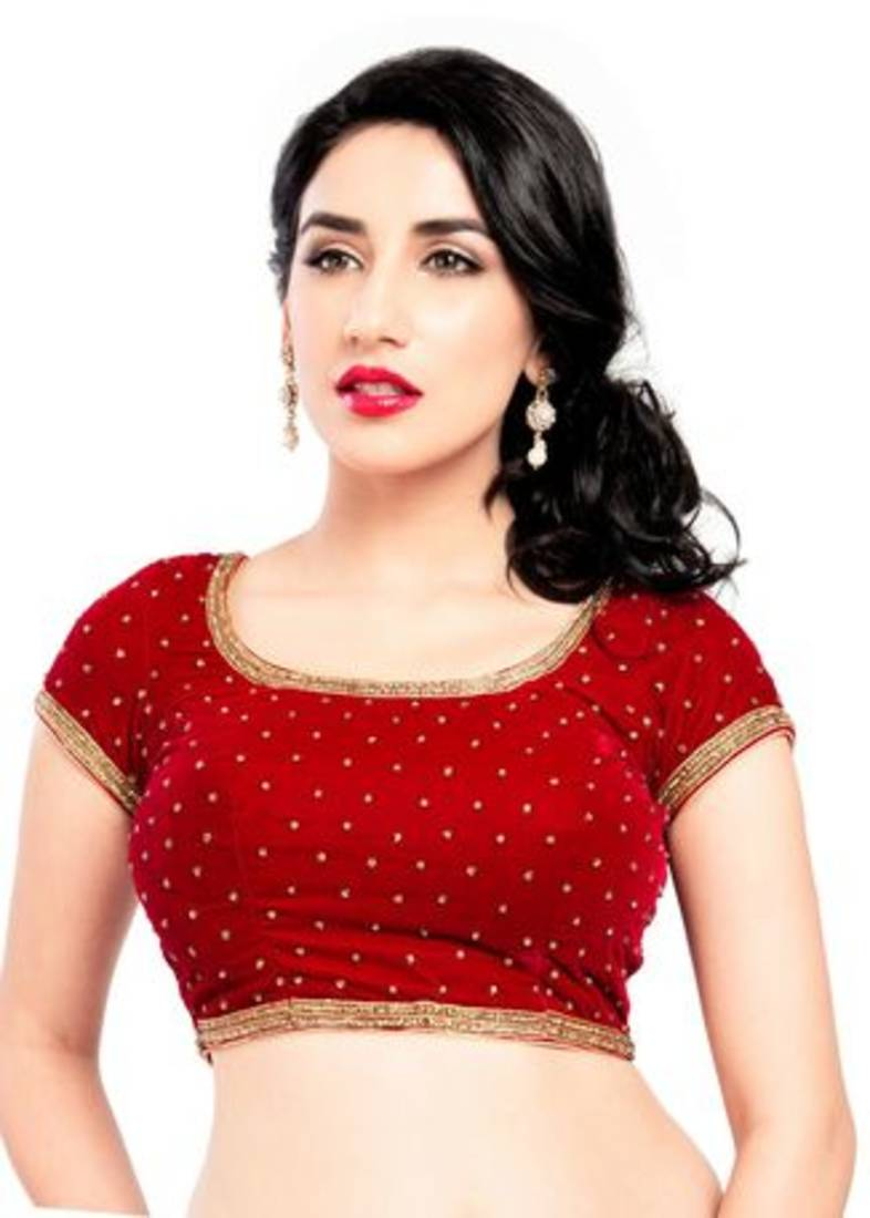 Red zardosi work stitched velvet readymade blouses - muhenera s ... f0d88acf5