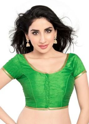 Parrot Green No Embroidery Stitched Brocade Readymade Blouses