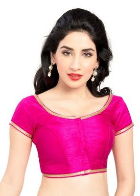 Pink No Embroidery Stitched Brocade Readymade Blouses