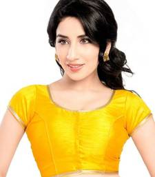 Yellow No Embroidery Stitched Brocade Readymade Blouses