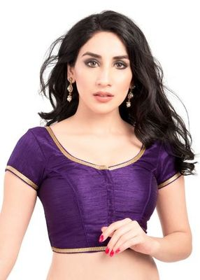 Brinjal No Embroidery Stitched Brocade Readymade Blouses