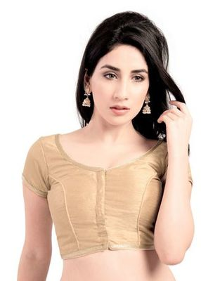 Golden No Embroidery Stitched Brocade Readymade Blouses