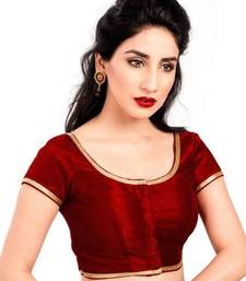 Maroon no embroidery stitched brocade readymade blouses