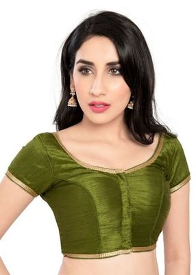 Mehandi Green No Embroidery Stitched Brocade Readymade Blouses