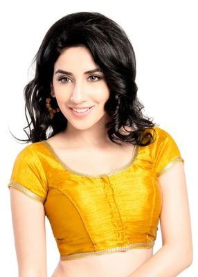 Mustard no embroidery stitched brocade readymade blouses