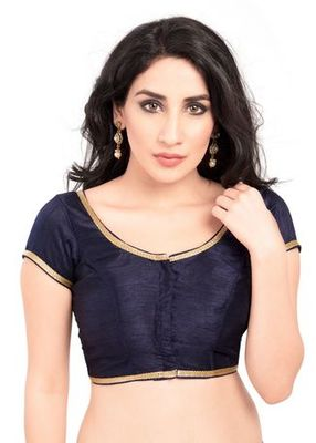 Navy Blue No Embroidery Stitched Brocade Readymade Blouses