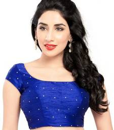 Buy Royal blue no embroidery stitched dupion silk readymade blouses readymade-blouse online