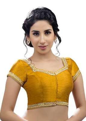 Mustard No Embroidery Stitched Dupion Silk Readymade Blouses