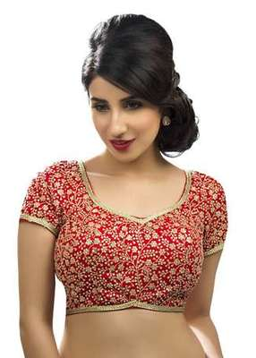 Red no embroidery stitched embroidered readymade blouses