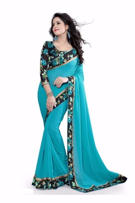 Sky-blue plain faux georgette saree With Blouse