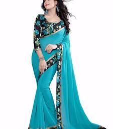 Sky-blue plain faux georgette saree With Blouse