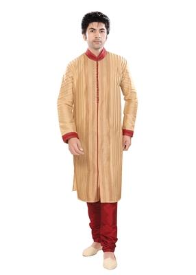 Beige Polysilk Traditional Kurta Pyjama