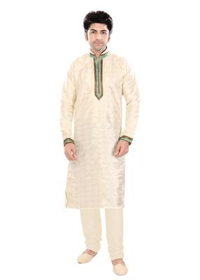 Beige Silk Plain Traditional Kurta Pyjama