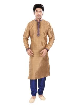 Brown Silk Plain Traditional Kurta Pyjama