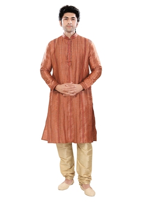 Brown Self Jacquard Traditional Kurta Pyjama