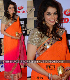 Buy orange plain georgette saree With Blouse other-actress-saree online