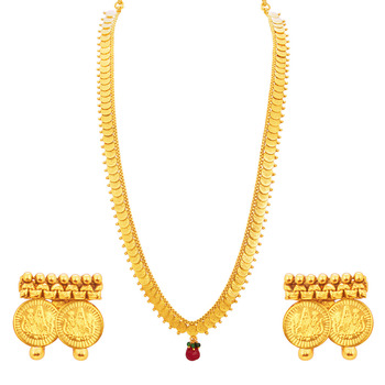 Youthful Laxmi Temple Coin Gold Plated Necklace Set For Women