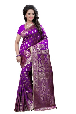 Purple plain art silk saree With Blouse