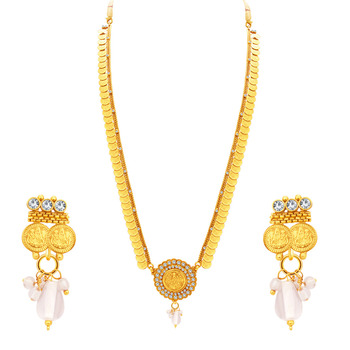 Modish Laxmi Temple Coin Gold Plated Necklace Set For Women