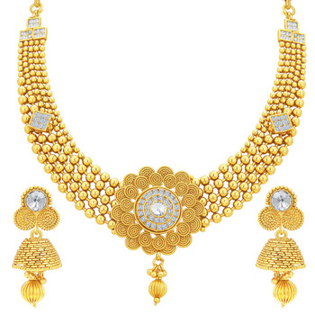 6b5945d11 Royal Jalebi & Invisible Setting Gold Plated American Diamond Necklace Set  For Women - Sukkhi Online Private Limited - 1162671