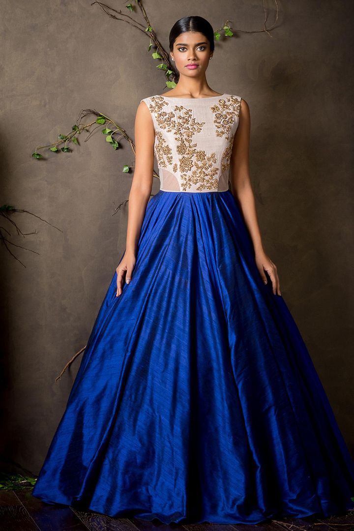 664249b7de Blue And White embroidred work Raw Silk Semistitched Gown - Sundram Fab -  1162686
