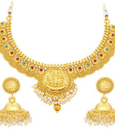 Buy Cluster Laxmi Coin Temple Gold Plated Necklace Set For Women necklace-set online